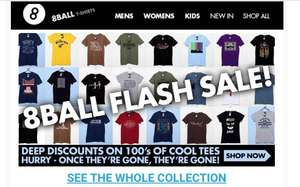8 Ball T-shirts Flash Sale £6 T shirts (+ £1.50 orders under £30 / Free Del over £30)