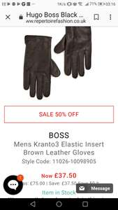 Hugo Boss men's brown leather gloves Were £75, now under half price at £33.75 repertoire fashion