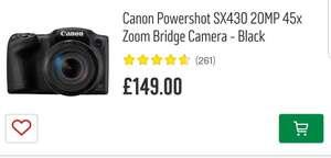 Canon Powershot  sx430 20MP 45x Zoom Bridge Camera  + free DCC-950 Canon Bag £149 Argos
