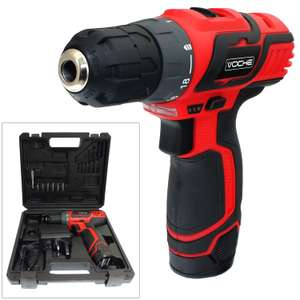 Voche® 12 Volt Cordless Rechargeable Lithium-Ion Drill & Driver Kit (Free Delivery With Code tattiescone)