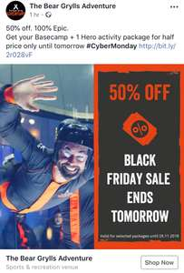 Bear Grylls adventure 50% off all adventure challenges prices starting from £10 Bear adventure Birmingham