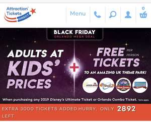 Disney & Orlando theme park tickets adults at kids prices and free UK theme park tickets