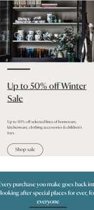 National Trust - up to 50% off sale including homeware, kitchenware, clothing accessories & toys (£4.99 delivery / free £50+)