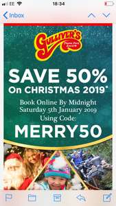 Christmas 2019 packages half price @ Gullivers fun