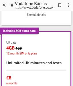 Vodafone SIM deal. 4GB data & Unlimited calls. £8 a month. 12 month contract. Extra 3GB free.