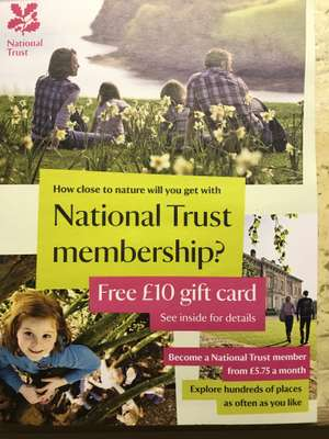 Free £10 gift card with National Trust membership