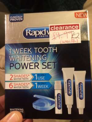 Rapid white teeth whitening kit reduced to clear instore at Boots for £2