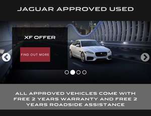 Jaguar approved used £1000-£1500 deposit contribution, 2 years warranty