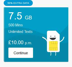 ID Mobile + 50% Data on all Sim Offers. e.g  4G 7.5GB /500 min / Unlimited texts - £10 ppm.
