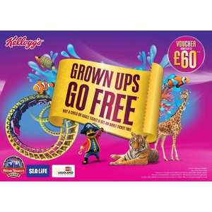 Grown Ups Go Free to Legoland / Alton Towers / Chessington & more with paying child or adult when you buy Kellogg's cereal