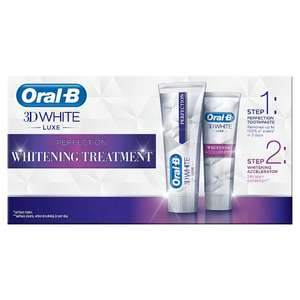 Oral-B 3D White Luxe Perfection Whitening Treatment (duo pack - 2x75ml) - £2.25 at Sainsburys.