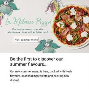 Prezzo - £10 off a £30 spend on new menu, check your emails!
