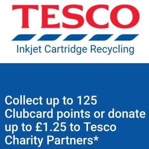 Tesco recycle printer cartridges 125 club card points in return or £1.25 to donate to charity  at therecyclingfactory