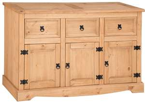 Solid Pine Corona Sideboard Large 3 Door 3 Drawer + 1 Year Warranty - £69.66 delivered with code @ mercersfurniture1995 eBay