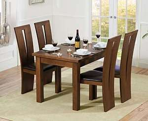 Normandy 120cm Dark Solid Oak Extending Dining Table with Montreal Chairs @ Oak Furniture Superstore £578.55 Delivered