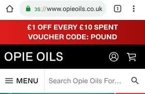 £1 OFF Every £10 Spent Voucher Code: POUND @ Opie Oils