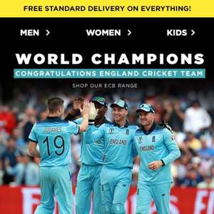 JD Sports FREE Delivery on everything - No Minimum Spend to celebrate England's Cricket World Cup win