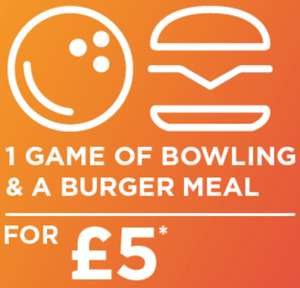 Tenpin bowling 1 game and burger meal (Veggie options also) £5 for adults and kids Mon-Fri until 5pm @ Tenpin