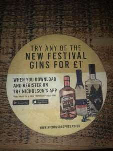 Choice of Gin + Tonics for £1 at Nicholson's Pubs When you Download App