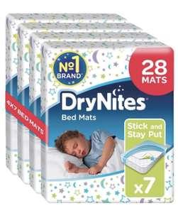 Huggies DryNites Disposable Bed Mats, Mattress Protector, 28 Mats Total (4 Packs of 7 Mats) £12 (subscribe & save) @ Amazon