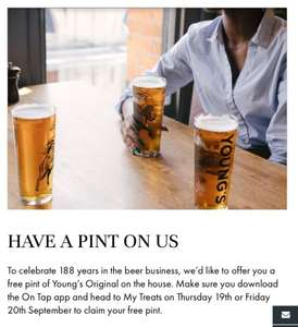 Free pint @ selected Young's pubs with app