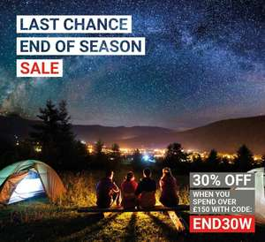 Khyam are offering 30 or 40% off tents over £150