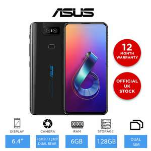 """ASUS Zenfone 6 ZS630KL - 128GB - 4G Unlocked Smartphone, 6.4"""" Display, 6GB RAM - £459.99 (With Code) @ eBay / Laptop Outlet"""