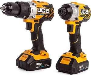 JCB 18BL-TPK-TS2 18V Brushless Twin Pack - 18BLCD Combi Drill + 18BLID Impact Driver (2 x 2.0Ah Batteries) - £129 @ toolstop