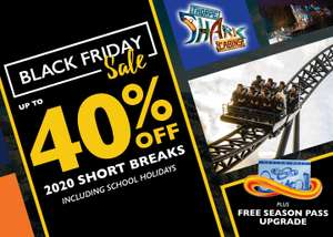 Thorpe Park Shark Hotel, up to 40% off + free Fast track + free season pass (Worth £90), 2 Day Entry, from £49pp 2a/2c (£186) @ Thorpe Park