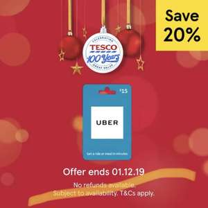 20% off Selected Gift Cards including Uber, Cafe Rouge, Bella Italia, Dining Out and more @ Tesco instore (National)