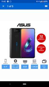 """ASUS ZenFone 6 ZS630KL - 128GB - 4G Unlocked Smartphone, 6.4"""" Display, 6GB RAM £419.99 with code @ Laptop Outlet on eBay"""
