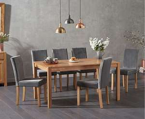 Solid Oak Dining table with 6 chairs £499 @ Oak Furniture Superstore
