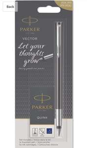 Parker Vector Fountain Pen Set, Black with Chrome Trim, Medium Nib with 5 Washable Blue Ink Cartridges. £8.12 delivered (£4.49 NP) @ Amazon