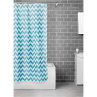 Homebase - Estilo Teal Chevron Shower Curtain (H)180 x (W)180cm - £3 + Free Click & Collect