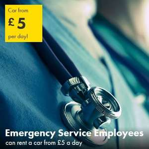 Europcar car rentals from £5 a day - minimum of 2 days for Emergency Service employees