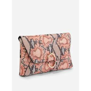 Dorothy Perkins - Pink Snake Print Ring Detail Clutch Bag £4 with free delivery @ Debenhams