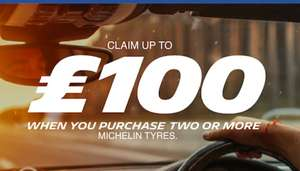 Claim up to £100 when you purchase 2 or more Michelin tyres at Michelin Shop Participating dealers