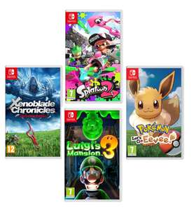 Luigi's Mansion 3/Xenoblade Chronicles: Definitive Edition/Pokémon: Let's Go,Eevee!/Splatoon 2 (Nintendo Switch) £34.99 each W/Code @ Currys