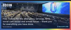 Free Odeon cinema tickets for the emergency services, nhs, social care sector and armed forces at Blue Light Card