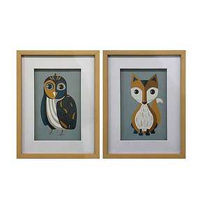 Elements set of two framed animal (owl and fox) prints for £10.50 click & collect (or £3.95 postage) @ Dunelm