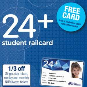 Northern Ireland Only - FREE yLink card for 16 to 23 year olds (usually £8.00) / Free 24+ Student Railcard @ Translink