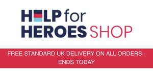 Last day of FREE delivery on all orders at Help for Heroes shop, items from £1