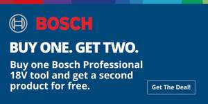 Buy one 18V Bosch tool, redeem a second (from a pre-selected range) for free at Toolstop