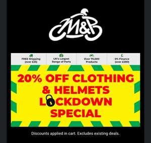 M&P 20% Clothing & Helmets @ M&P Direct