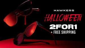 Pick out 2 pairs of sunglasses and pay for just 1 @ Hawkers + free delivery