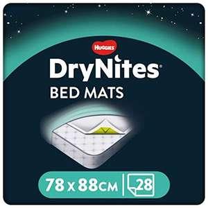 Huggies DryNites Disposable Bed Mats, Mattress Protector x 28 £9.68 (+£4.49 Non Prime) @ Amazon