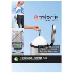 Brabantia Bin Liners, Size G, 23-30 L - 40 Bags £3 (+£4.49 non-prime) @ Amazon