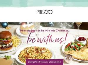 Christmas set menu - 2 courses £15 or 3 courses £19 @ Prezzo plus 20% off click and collect