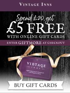 Spend £20 on a gift card get £5 free @ Vintage Inns