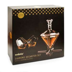Soirée Diamond Decanter and Glass set with stand for £4.49 delivered using code @ IWOOT
